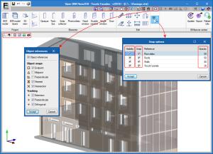Open BIM RenoZEB - Focchi Facades. Ambiente de trabalho. Interface 3D